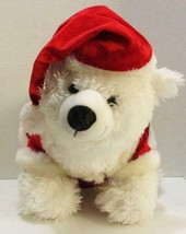"BUILD A BEAR WHITE POLAR IN SANTA OUTFIT HAT COAT 15"" CHRISTMAS HOLIDAY ... - $8.99"