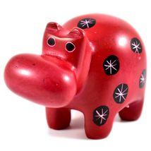 Tabaka Chigware Hand Carved Kisii Soapstone Red Black Hippopotamus Hippo Figure image 5