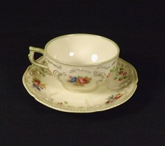 Rosenthal Sansoucci Demitasse Cup & Saucer Selb Floral & Scroll Green Trim - $24.70