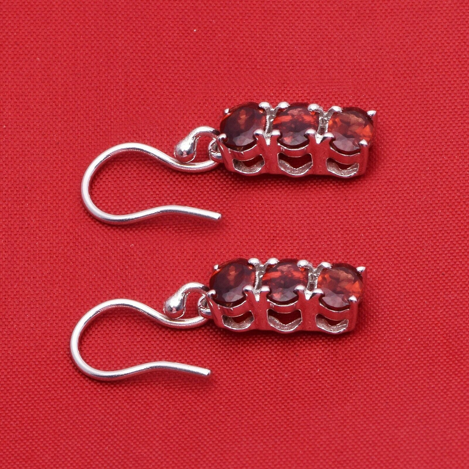 Three Stone Prong Set Rhodolite Garnet  925 Sterling Silver Dangle Hook Earring