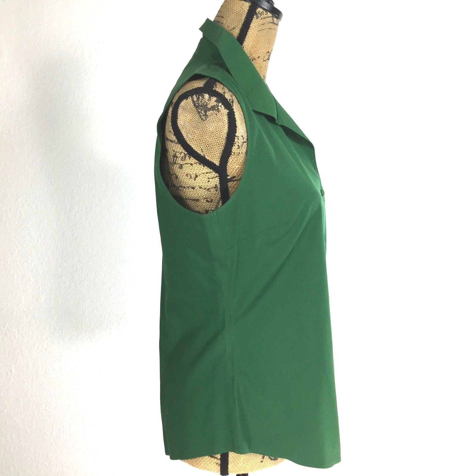Talbots 8 Med M Shirt Wrinkle Resist Dark Green Collar Sleeveless Top Career LN
