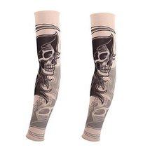 PANDA SUPERSTORE 1-Pair Black Skull Tattoo Sun Sleeves Body Art Arm Stockings fo