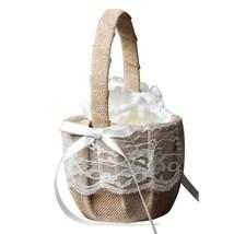 Rustic Lace Burlap Wedding Theme Vintage Wedding Flower Girl Basket - $22.50