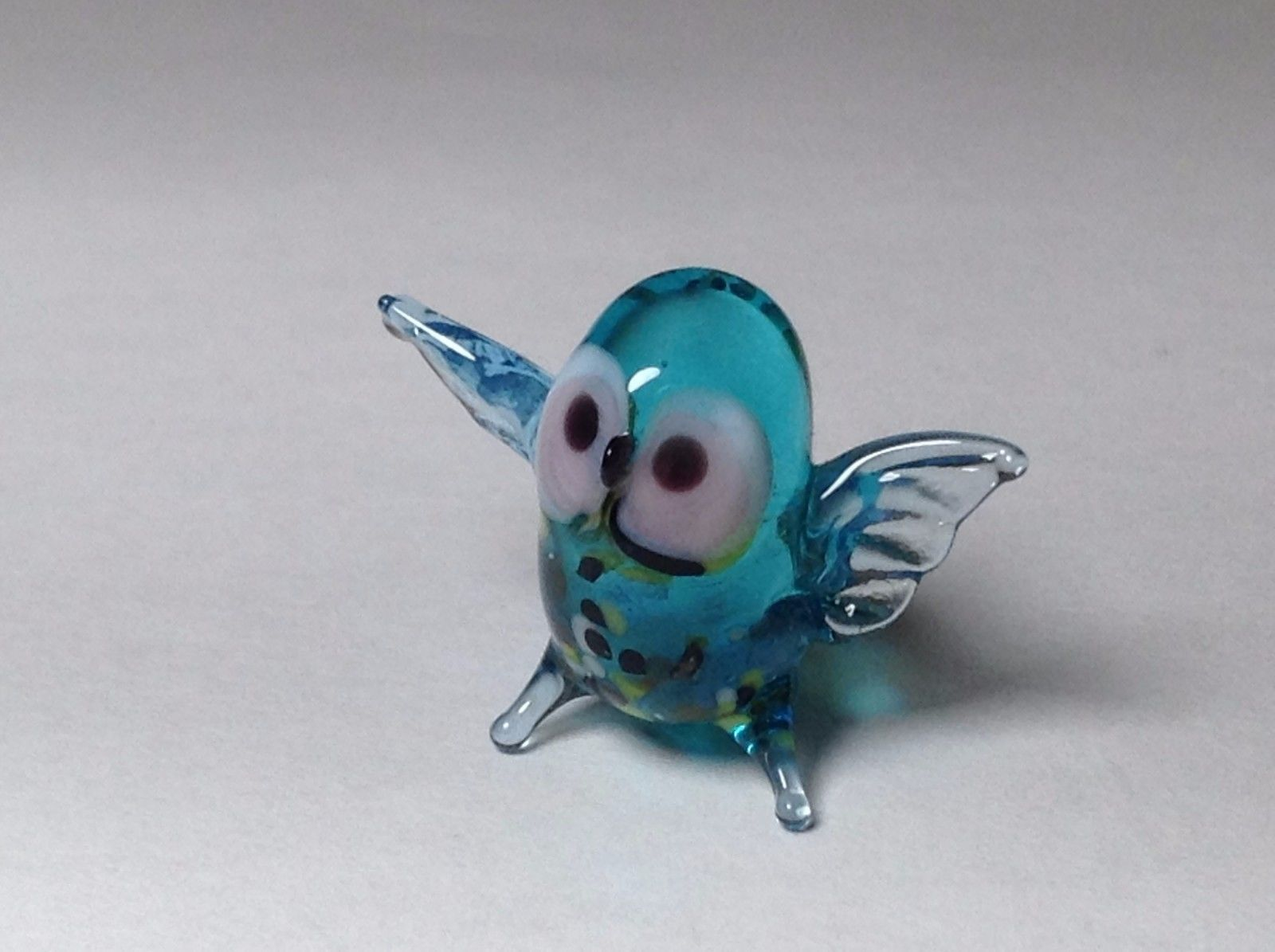 Miniature Glass Blue and Spotted Owl Handmade Blown Glass Made USA