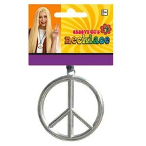 Peace Sign Medallion Necklace Groovy 60s Hippie Costume - $3.79