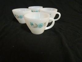 Fire King Milk Glass Boutonniere Blue Flower Coffee Tea Cups set of 4 - $17.32