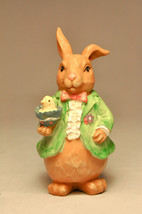 My Bunnies:  Pappa Bunny - Green Coat Holding Chick in Egg - Easter - $10.95
