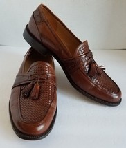 Johnston & Murphy Mens Brown Leather Strafford Tassle Loafers 15 1366 Si... - $56.95