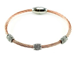 Two Tone 3 Pave Barrels AAA CZ Cable Bangle Bracelet With Magnetic Lock-RG - $19.79
