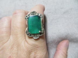 Victorian/Art Deco Sterling Marcasite/Green Chrisophas Cocktail Ring size 6 - $49.99