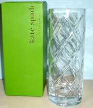 "Kate Spade Calhoun Court Cylinder Vase 10"" Etched Crisscross #852127 New - $85.90"