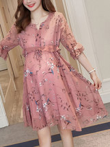 Maternity Dress Chic Floral V Neck Flare Sleeve Ruffles Loose Chiffon Dress image 2
