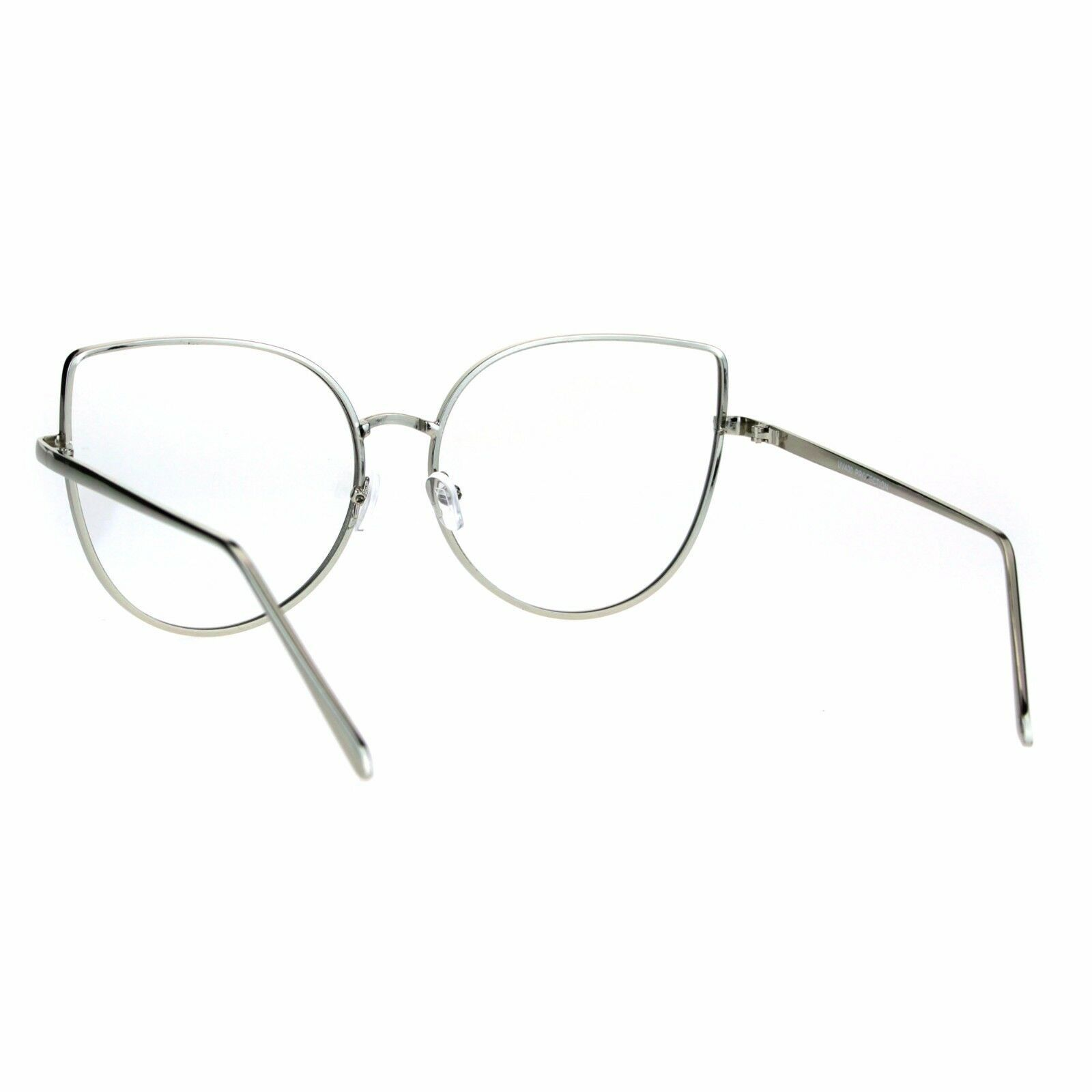 Womens Clear Lens Glasses Cute Cateye Butterfly Metal Frame UV 400