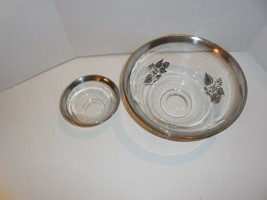 Georges Briard Silver Damask Salad or Chip and Dip Bowl with small Dip Bowl - $29.65