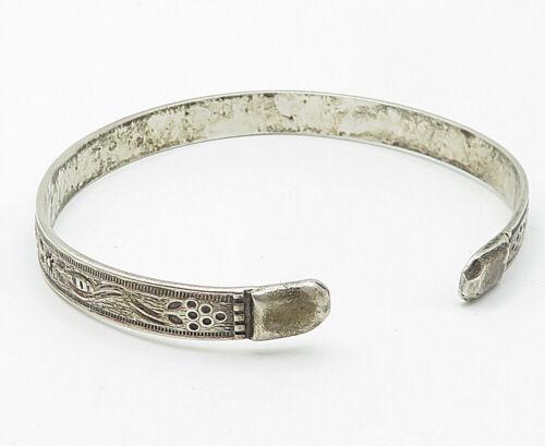 YDL TRINIDAD 925 Silver - Vintage Etched Floral Pattern Cuff Bracelet - B4963