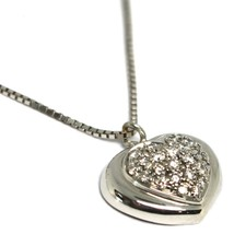 18K WHITE GOLD NECKLACE WITH DIAMONDS ROUNDED HEART PENDANT, VENETIAN CHAIN image 2