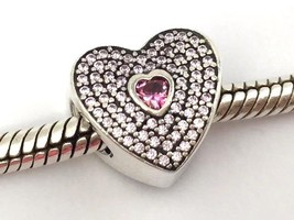 Authentic Pandora Sweetheart Sterling Silver & CZ Bead Charm 791555CZS New - $64.59