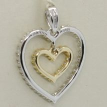 18K YELLOW AND WHITE GOLD HEART DOUBLE PENDANT CHARM WITH CUBIC ZIRCONIA image 3