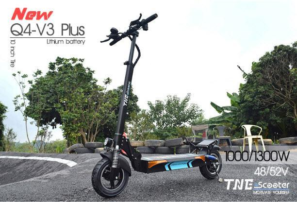 Folding Electric Scooter TNE Q4 V3 Plus 1300w 52v 18ah Lithium Battery Hub Motor
