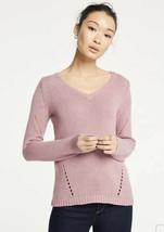 NWT Womens Ann Taylor L/S Nostalgia Rose Pointelle V-Neck Sweater Sz L L... - $29.69