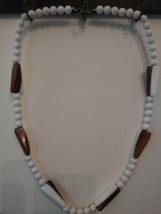 VINTAGE BAKELITE WHITE AND BROWN NECKLACE - $50.00