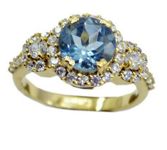 ideal Blue Shappire CZ Gold Plated Blue Ring genuine jaipur US gift - $22.99