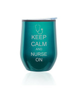 Stemless Wine Tumbler Coffee Travel Mug Glass Cup w/ Lid Keep Calm Nurse On - $14.99