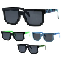 Kids Size Gamer Pixel Shape Nerd Retro Plastic Sunglasses - $9.95