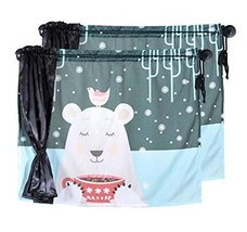 Set of 2 Summer Car Curtains Sunshades Sucker Type Double Sunshades, White Bear