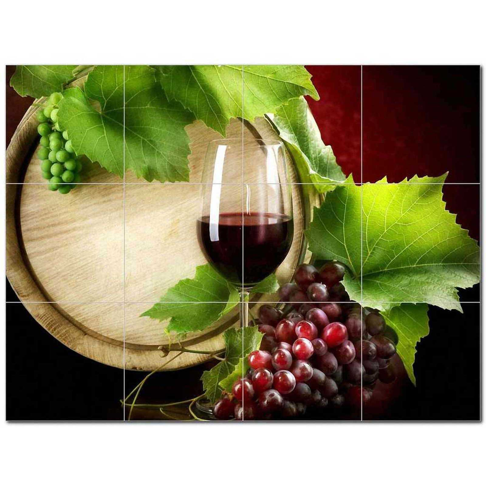 Primary image for Wine Grapes Ceramic Tile Mural Kitchen Backsplash Bathroom Shower BAZ406381