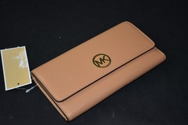 NWT! MICHAEL Michael Kors Fulton Large Tri-Fold Wallet in Suntan - Light... - £115.42 GBP