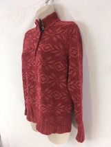 Woolrich Womens Womens M Ruby Red Snowflake Pullover Crew Cotton/Wool Sw... - $21.78