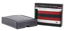 Tommy Hilfiger Men's Leather Wallet Passcase Billfold RFID Navy Red 31TL220104 image 2