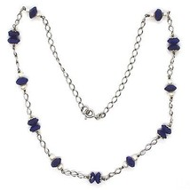 SILVER 925 NECKLACE, LAPIS LAZULI BLUE DISCO FACETED, PEARLS, 17 11/16in image 2