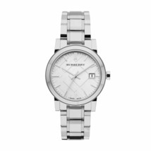 Burberry BU9100 Large Check Silver Swiss Made Womens Watch - $248.73 CAD
