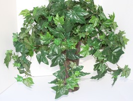 "Silk Foliage Plant 12.5"" Metal Container Beautiful Green Ivy 24"" height  - $19.79"