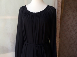 BLACK MAXI Chiffon Dress Long Sleeve Loose Oversized Maternity Dress Gowns NWT image 3