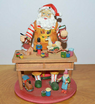 SANTA'S WORKSHOP MUSICAL CHRISTMAS DECORATION RESIN & WOOD - $15.86