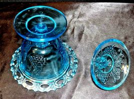 Blue Pedestal Candy Compote Depression Glass 2 piece AA19-CD0025 Vintage image 5