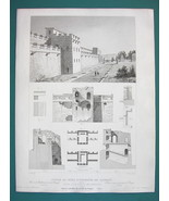 ARCHITECTURE PRINT 1850 - ITALY Fortifications of Pompeii Gate Walls - $8.99
