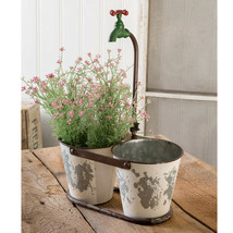Country DOUBLE BUCKET FAUCET PLANTER Farmhouse Primitive Garden Flower R... - $60.99