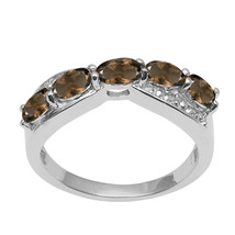 Smoky Quartz &  White Topaz Gemstone 925 Sterling Silver Half Eternity B... - $15.86