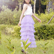 Women Purple Layered Tulle Skirt Outfit Plus Size Romantic Wedding Party Outfit  image 5