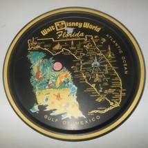 Vintage Walt Disney World Florida Metal Tray Souvenir Round Classic Tin ... - $19.34