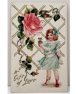 A Gift of Love, Pretty Girl Fancy Dress Exaggerated Rose 1908 VT Postcar... - $5.95