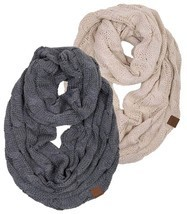 Matching Scarf Bundle Beanies Ribbed Winter Stay Warm Cable Knit Machine... - £30.68 GBP