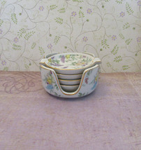 Vintage Lefton China Floral Ashtray Set of 4 Plus Holder Made in Japan - $15.00