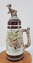 "Vintage Holland Mold Stein Mug with Lid 3D Wildlife Hand Painted 18"" - $18.09"