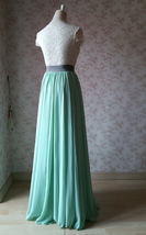 MINT GREEN Maxi Chiffon Skirts Mint Green Wedding Chiffon Skirt Plus Size image 6