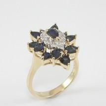 2.00 Ct Pear Cut & Blue Sapphire Diamond  Wedding Ring 14K Yellow Gold F... - $108.90